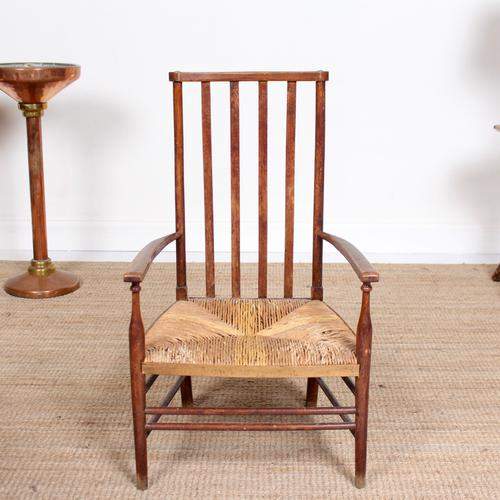 Oak Armchair Rushwork Seated Chair 19th Century (1 of 12)