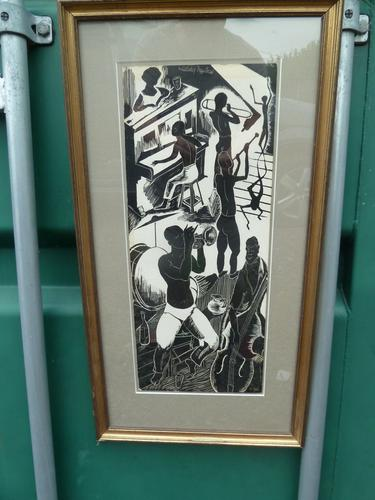 "Stunning Original Scraperboard Picture ""Milneburg Jazz Band"" New Orleans Signed ""B.G.Short"" 1964 (1 of 8)"