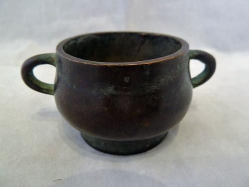 Late 19th Century Qing Dynasty Chinese Miniature Bronze Censer - Signed (1 of 6)