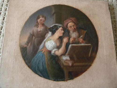 "Fine 18th Century Old Master Oil on Canvas ""Money Lenders"" Unsigned (1 of 7)"