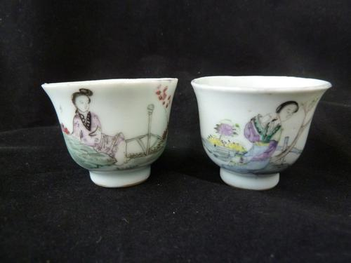 2 Antique Chinese Famille Rose 18th Century Wine Cups (1 of 6)