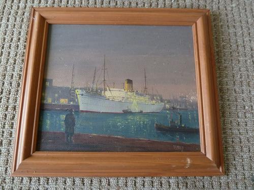 """Fine Mid Century Oil on Board """"Shipping Scene"""" by R.E.Hyett - 1950s (1 of 6)"""