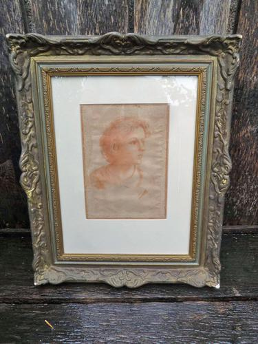 18Thc Italian ? Old Master Sanguine Chalk Study of a Youth- Indistictly Signed , Dated 1785 - Free Uk Postage (1 of 6)