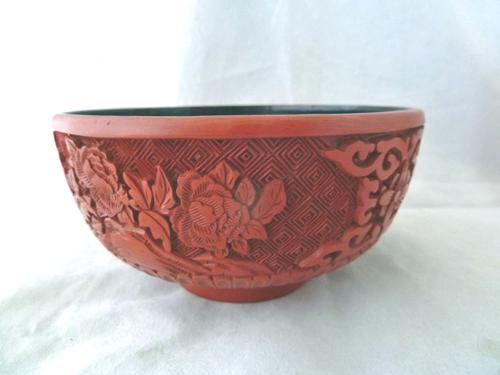 Vintage Mid Century Chinese Cinnabar Lacquer Bowl (1 of 7)