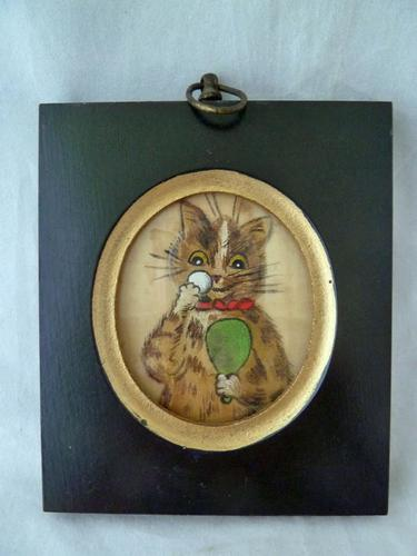 Excellent Early 20th Century Miniature Painting on Silk of a Cat - attributed to Louis Wain (1 of 3)