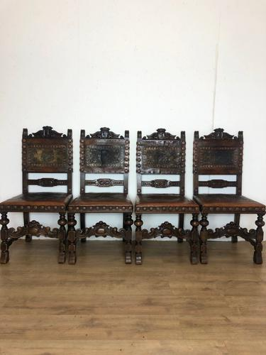 Italian Embossed Leather Chairs c.1880 (1 of 4)