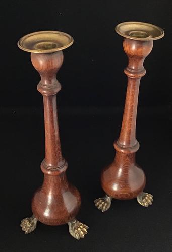 Victorian Oak Candlesticks (1 of 4)