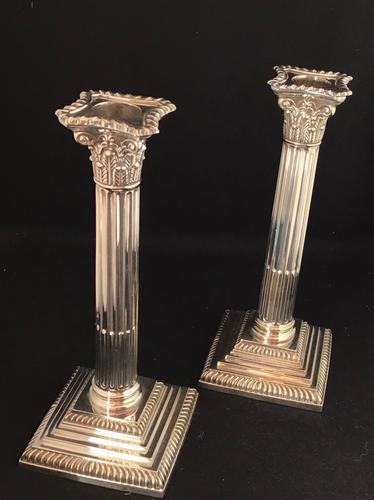 Victorian Silver Plated Corinthian Column Candlesticks (1 of 7)