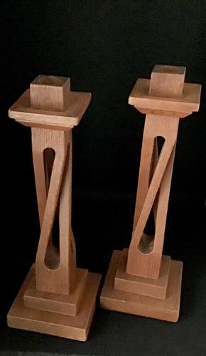 Arts & Crafts Oak Open Twist Candlesticks (1 of 4)