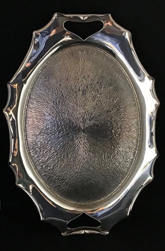 Aesthetic Silver Plated Planished Butlers Tray (1 of 2)
