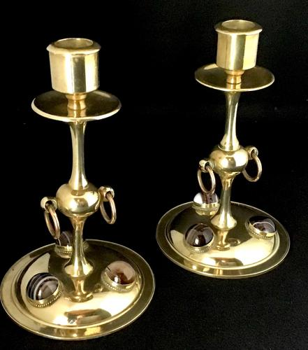 Arts and Crafts Brass and Agate Candlesticks (1 of 5)