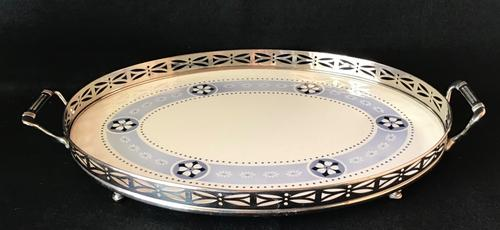 Arts & Crafts Silver Plated & Ceramic Butlers Tray (1 of 4)