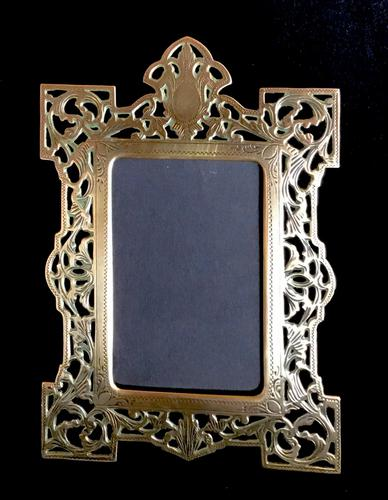 Victorian Brass Reticulated Easel Photo Frame (1 of 3)