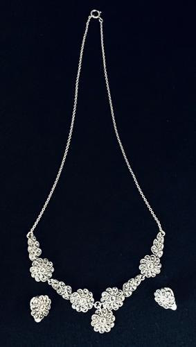 Silver & Marcasite Necklace with Matching Earrings (1 of 4)