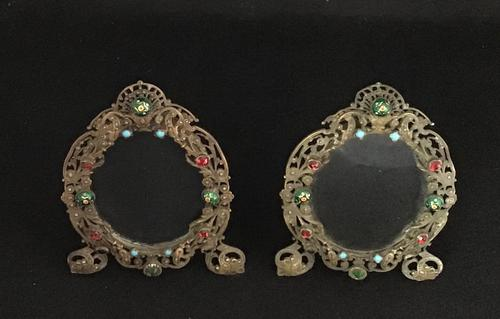 Pair of Filigree and  Faux  Jewel Easel Photograph Frames (1 of 4)