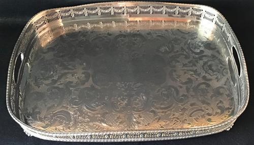 Large Chased Silver Plated Gallery Butlers Tray (1 of 4)