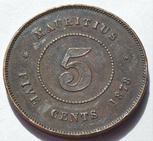 1878 Mauritius Queen Victoria 5 Cents High Grade Low Mintage! Coin (1 of 2)