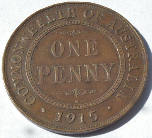 1915 H Heaton Australia King George V Penny Bronze High Grade Coin (1 of 2)