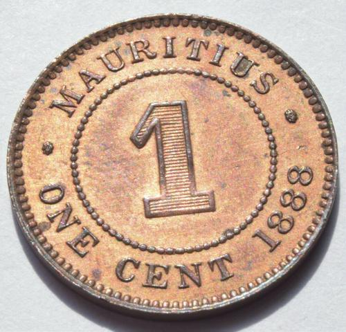 1888 Mauritius Queen Victoria One Cent Very High Grade Coin (1 of 2)