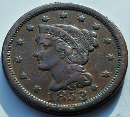 1853 United States of America Large Matron Head Copper Cent High Grade Coin (1 of 2)