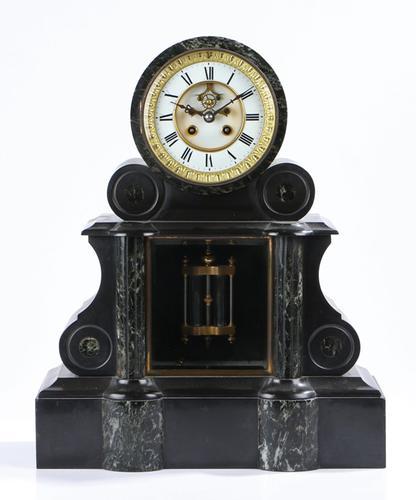 Large Fine Quality Victorian Black Slate & Marble Mantel Clock (1 of 1)
