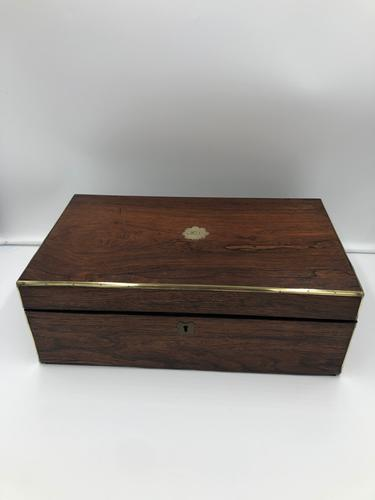 Antique Victorian Rosewood Brass Bound Writing Box (1 of 5)
