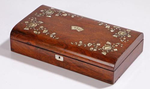 Antique 19th Century Mother of Pearl Inlaid Games Box (1 of 9)