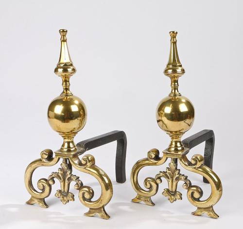 Fine Pair of Regency Brass and Cast Iron Fire Dogs (1 of 7)