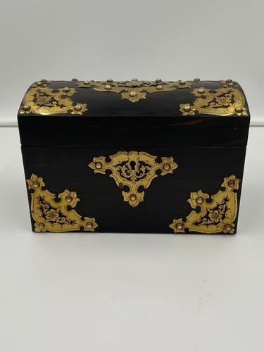 Antique Victorian Brass Mounted Coromandel Tea Caddy (1 of 5)