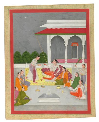 Princess Seated on a Terrace with Attendants, Murshidabad, Provincial Mughal, North India c.1800 (1 of 1)