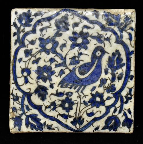 Blue & White Pottery Tiles Possibly Zand or Early Qajar Iran, Late 18th Century (1 of 1)
