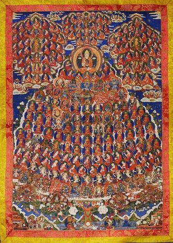 Large Tsong-Ka-Pa Lineage Thang-Ka, Tibet, 19th Century (1 of 1)