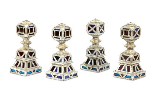 Four Mother of Pearl & Coloured Glass Charpai Legs  India, 19th Century (1 of 1)