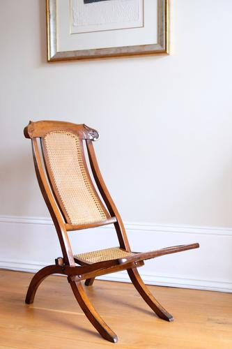 19th Century Mahogany Framed Folding Campaign Chair, Cane Work Seat & Back (1 of 10)