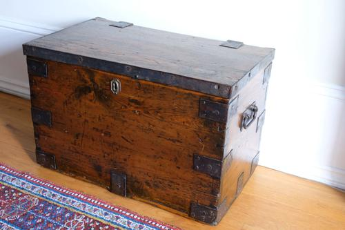 Small Antiqued Iron Bound Pine Chest (1 of 8)