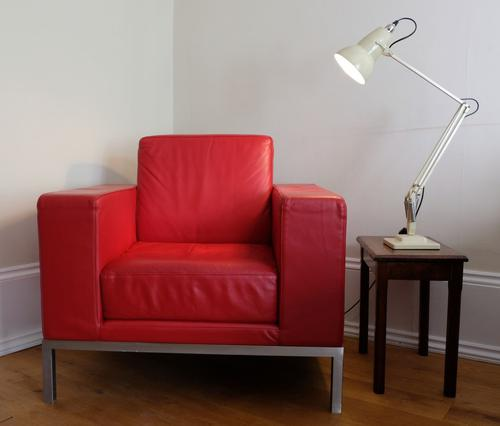 Vintage Design Armchair with Red Leather Upholstery (1 of 7)
