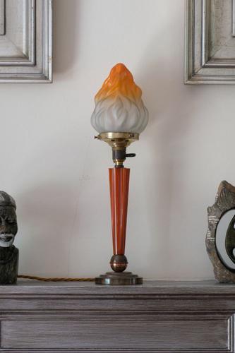 Art Deco Torchiere Bakelite, Brass & Copper Lamp (1 of 4)
