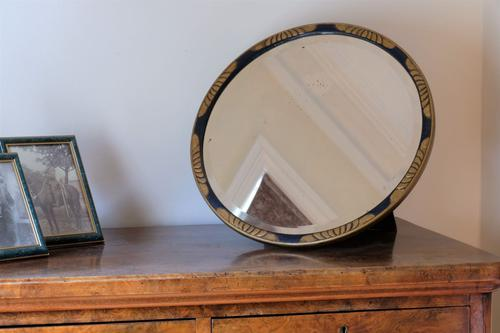 Vintage Round Painted Blue & Gold Mirror (1 of 11)