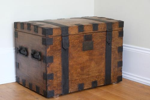 Gorgeous Victorian Metal Bound Oak Plate Chest, Domed Hinged Top, Side Carrying Handles (1 of 13)