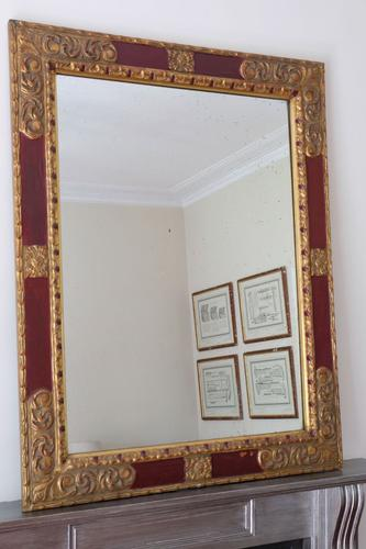 20th Century Italian Parcel Gilt Scarlet Painted Wall Mirror Moulded Frame (1 of 8)