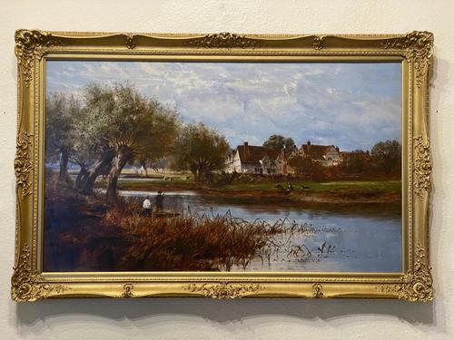 """William Edward Harris – """"Fishing by the Severn"""" – Signed & Dated 1887 – Oil on Canvas (1 of 2)"""