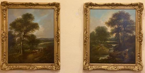 """Pair of Oil on Canvas Paintings """"Cattle Droving"""" by John Joseph Barker 'Bath' (1 of 6)"""