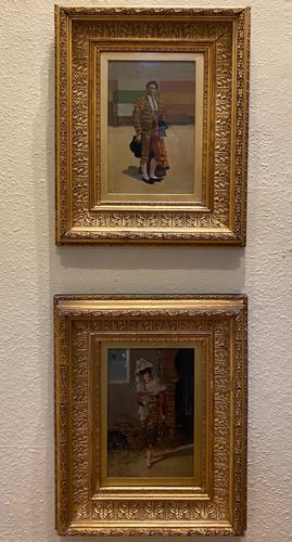 Superb Pair of Spanish Portrait Paintings by Adolfo Del Aguila Y Pimentel (1 of 4)