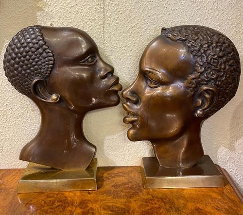 Pair of Art Deco Bronze Profile Studies of Negro Heads (1 of 3)