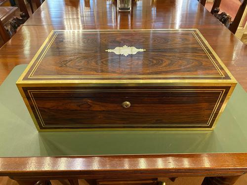 19th Century Rosewood & Brass Inlaid Writing Box (1 of 5)