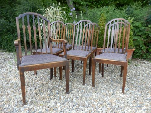 Set of 7 Arts & Crafts Dining Chairs by James Shoolbred (1 of 11)