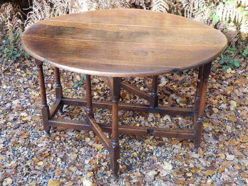Drop Leaf Dining Table, Solid Oak, 18th Century (1 of 7)