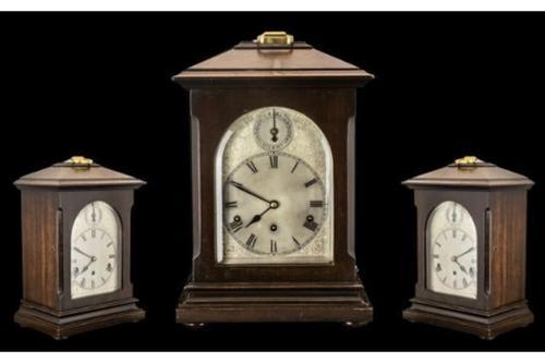 Antique Edwardian Kienzle Clock Company Large & Impressive German 8 Day Chiming Mahogany Cased Bracket Clock Art Nouveau Art Deco (1 of 1)