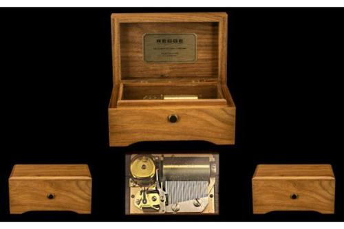 Reuge Swiss Made Top Quality Wind Up Mechanical Cylinder Walnut Music Box (1 of 1)