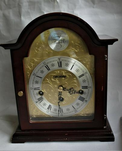Rare Franz Hermle 8 Day Westminster Chime by Wm. Widdop Mahogany Mantel Clock (1 of 4)